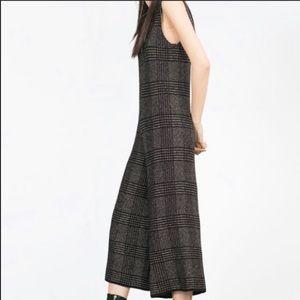 Zara Knit jumpsuit plaid wide leg blogger style EC